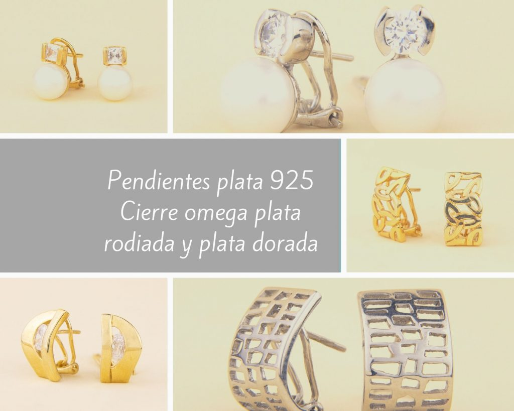 Pendientes plata 925 Cierre omega plata rodiada y plata dorada